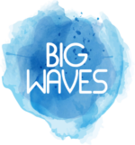 "Logo image: blue watercolour background with the words ""Big Waves"" in white"